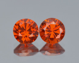 Canary Red Azotic Topaz 1.50 Cts 2 Pcs Fancy Color Natural Gemstone- Pair