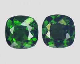Chrome Diopside 2.05 Cts 2 pcs Vivid Green Color Natural Gemstone - Pair