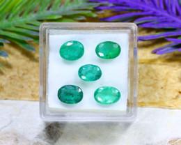 Zambian 4.56Ct Oval Cut 5Pcs Natural Green Zambian Emerald B1907