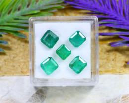 Zambian 4.41Ct 5Pcs Square Cut Natural Green Zambian Emerald B1912