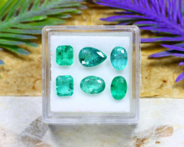 Zambian 4.56Ct 6Pcs Natural Green Color Zambian Emerald B1918