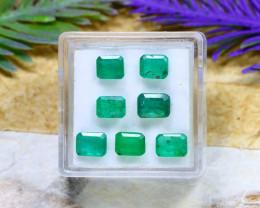 Zambian 4.45Ct 7Pcs Octagon Cut Natural Green Zambian Emerald C2007