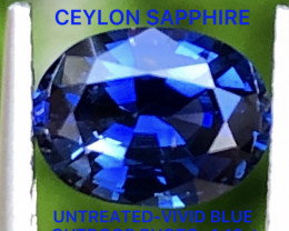 1.13 CT VIVID BLUE SAPPHIRE -UNTREATED -CEYLON -WITH EXCELLENT  LUSTER
