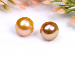 10.85mm 17.59Ct Natural 2 Pieces Oceania South Sea Orange Gold Pearl PE011