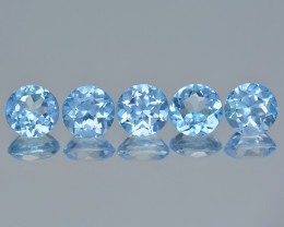 Ocean Blue Azotic Topaz 3.19 Cts 5 Pcs  Rare Color Natural Gemstone- Parcel