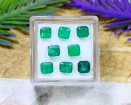 Zambian 4.49Ct 8Pcs Natural Green Color Zambian Emerald A2113