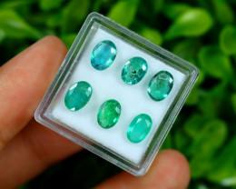 Zambian 4.19Ct 6Pcs Natural Green Color Zambian Emerald C2106