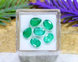 Zambian 4.24Ct 6Pcs Natural Green Color Zambian Emerald A2202