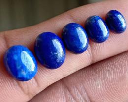 5 Pcs Lapis Lazuli 100% Natural + Untreated Cabochon Wholesale Lot VA2766