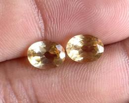 6x8mm Citrine Pair Natural Oval Faceted Gemstone VA2779