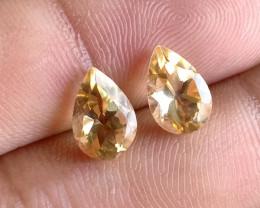 6x9mm Citrine Pair Natural Pear Faceted Gemstone VA2783