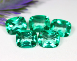 Green Topaz 30.28Ct VS 5Pcs Cushion Cut Natural Green Topaz B2220