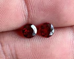 5x5 mm Round Garnet Gemstone Pair 100% NATURAL AND UNTREATED VA2828