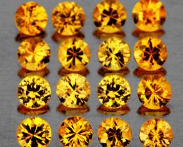 1.90 mm Round 25 pcs 0.97ct Intense Yellow Sapphire [VVS]