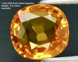 1.19ct VVS Yellow Sapphire - Cushion / Australia / Heated /6.25x5.93mm/ Cer