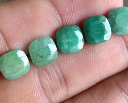 5Pcs Emerald Wholesale Lot Natural Faceted Gemstone VA2874