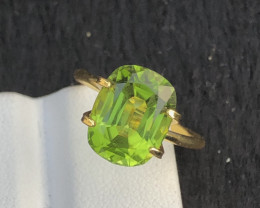 Parrot Green Color 5.70Ct Natural Step Cushion Cut Top Quality Peridot