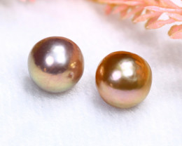 10.6mm 17.13Ct Natural 2 Pieces Oceania South Sea Pearl PE024