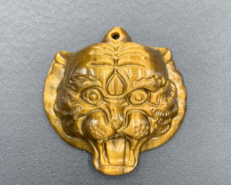 47.80 Cts Awesome Hand Carving Tiger Eye Tiger Head. Tt-611