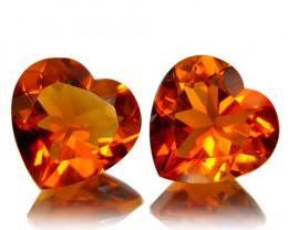 4.46Cts Genuine Natural Citrine Heart Shape Matching Pair