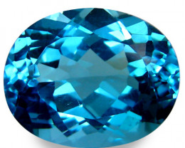 8.42Cts Sparkling Natural  Swiss Blue Topaz 14X10mm Oval Shape