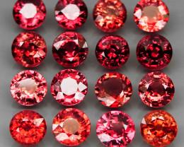 16Pcs/12.15Ct.Round 5.5 mm.Best Color! Natural Cherry Red Rhodolite Garnet