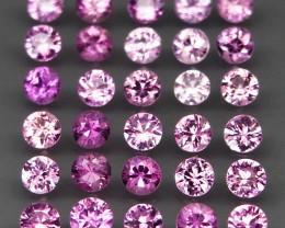30Pcs/3.37Ct.Round Diamond Cut 2.8 mm.Heated Only Pink Sapphire Madagascar