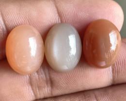 3 Pcs Moonstone Natural Gemstone Untreated Cabochon VA2986