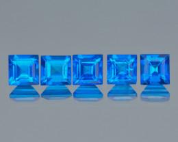 Azotic Topaz 2.15 Cts 5Pcs Fancy Super Swiss Blue Color Natural Gemstones