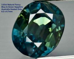 3.03ct VS Blue & Green Sapphire - Australia / Heated Only /8.2x6.7mm