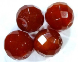 CARNELIAN FACETED BEADS (4 PCS) 10 CTS NP-1083