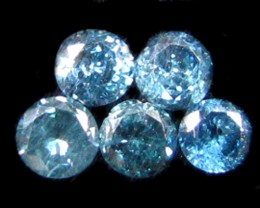 F/S PARCEL  5 X 2 POINTERS VS BLUE DIAMONDS  0.26CTS OP 1201