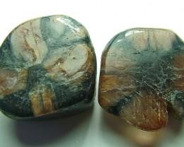 Rare chiastolite stone Pair     120.90  cts.         AS 5184