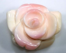 CONCH SHELL ROSE CARVING HALF DRILLED 24.55 CTS LT-343