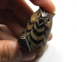 BUFFALO HORN CARVING OF CUTE OWL 50   CTS  GTT 1465
