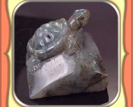CARVING - 330.5ct Labradorite from Madagascar Carved Turtle