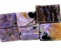 PURPLE CHAROITE 6 RECTANGLE STONES 78.1 CTS ADG-567