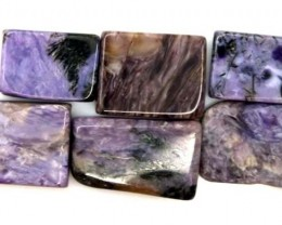 PURPLE CHAROITE 6 RECTANGLE STONES 79.3 CTS ADG-586