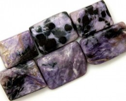 PURPLE CHAROITE  6 RECTANGLE STONES 80.2 CTS ADG-589