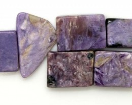 PURPLE CHAROITE 6 RECTANGLE STONES 68.3  CTS ADG-588