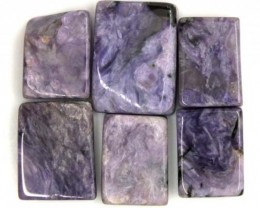 PURPLE CHAROITE 6 RECTANGLE STONES 82.5 CTS ADG-595
