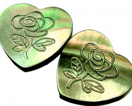 PAIR MOTHER OF PEARL CARVED HEARTS - 4.85 CTS [PF 1251]