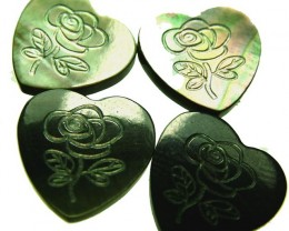 PARCEL  MOTHER OF PEARL CARVED HEARTS - 10.20 CTS [PF 1260]