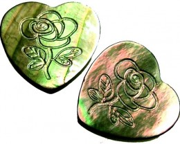 PAIR  MOTHER OF PEARL CARVED HEARTS - 4.50 CTS [PF 1266]