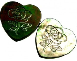PAIR  MOTHER OF PEARL CARVED HEARTS - 5.10 CTS [PF 1270]