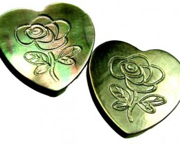 PAIR  MOTHER OF PEARL CARVED HEARTS - 5.00 CTS [PF 1273]