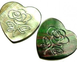 PAIR  MOTHER OF PEARL CARVED HEARTS -  4.95 CTS [PF 1280]