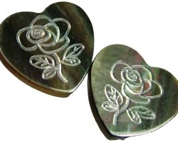 PAIR  MOTHER OF PEARL CARVED HEARTS - 5.15 CTS [PF 1289]