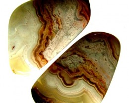 LAGUNA LACE  AGATE-PAIRS   - POLISHED  33.45 CTS [MX6657 ]