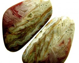 LAGUNA LACE  AGATE-PAIRS   - POLISHED  29.50 CTS [MX6667 ]